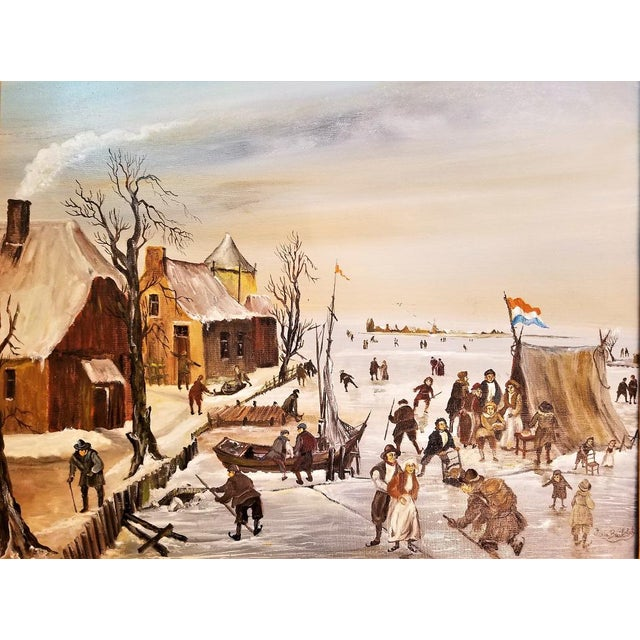 Dutch Ice Skating Oil Painting on Canvas by Van Buiksloot For Sale - Image 9 of 13