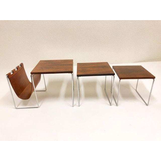 Mid-Century Modern Rosewood and Chrome Nesting Tables - Set of 3 For Sale - Image 3 of 8