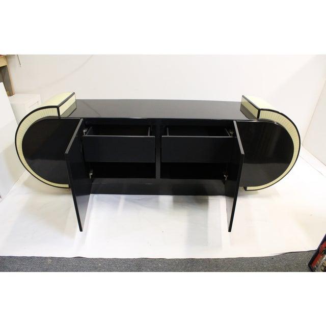Pierre Cardin Style Black Modern Four-Door Buffet - Image 9 of 10