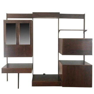 Midentury Rosewood Wall-Unit Including Table, Desk, Curio Cabinet and Light For Sale