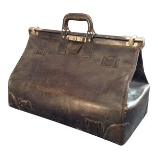 20th C. English Leather Travel Bag For Sale