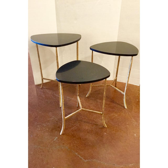 Modern Arteriors Modern Black and Gold Connor Nesting Tables Set of Three For Sale - Image 3 of 5