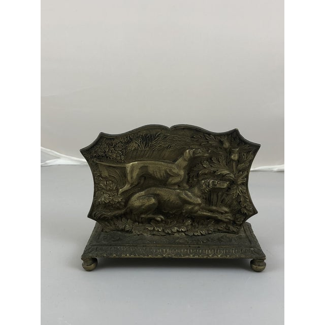 Metal 1900s Traditional Brass Hunting Dogs Letter Catcher For Sale - Image 7 of 7