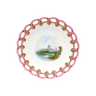 Antique Ribbon Edge Hand-Painted Plate For Sale