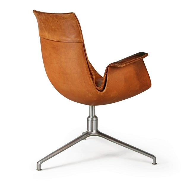 Alfred Kill Distressed Leather Bird Chair by Preben Fabricius & Jørgen Kastholm for Alfred Kill For Sale - Image 4 of 10