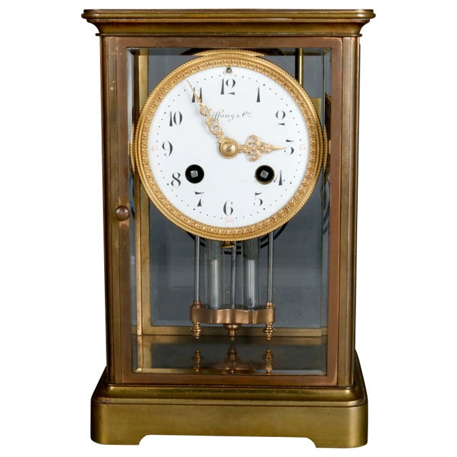 Antique Tiffany & Co. Crystal and Brass Regulator Mantel Clock, circa 1890 For Sale - Image 9 of 9
