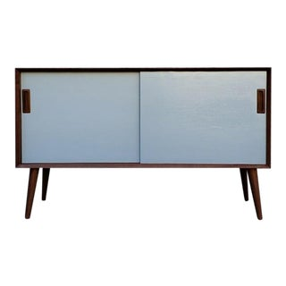 Mid-Century Modern Grey Front Walnut Cabinet With Sliding Doors For Sale