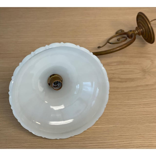 Vintage 1900s Wall Sconce in Antiqued Brass With Milk Glass Shade For Sale - Image 9 of 12