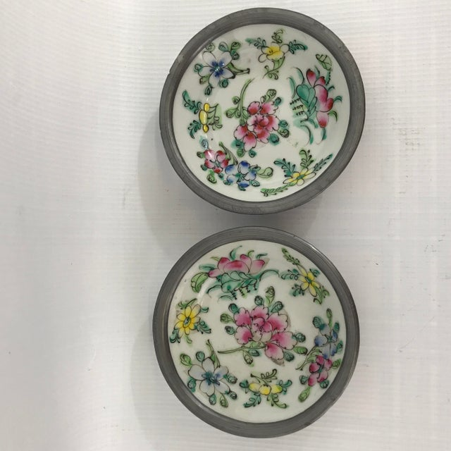 Green Pewter Clad Chinese Porcelain Dishes - a Pair For Sale - Image 8 of 8