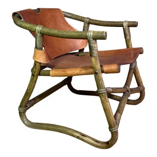 """""""Espri"""" 1970s Leather and Bamboo Lounge Chair For Sale"""