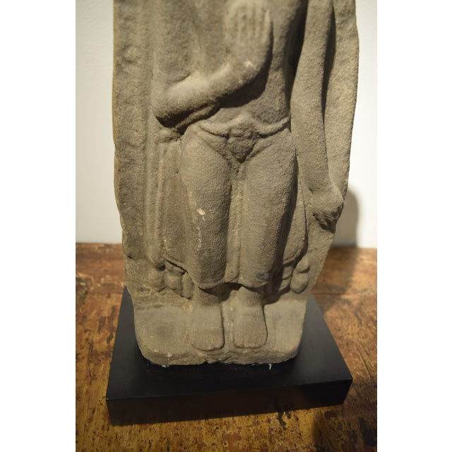 Mid 19th Century Tibetan Buddah Carved in Sandstone For Sale - Image 5 of 8