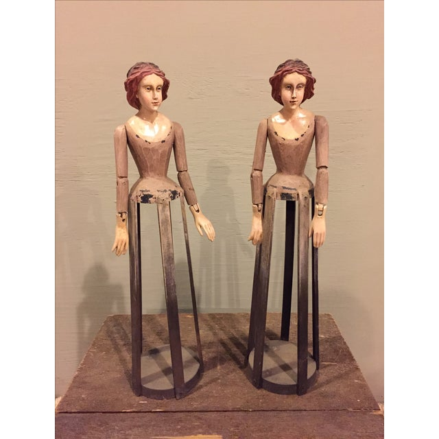 Vintage Reproduction Santos Cage Dolls - A Pair - Image 2 of 7