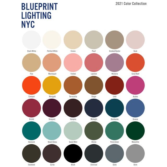 "White Mid-Century Modern Blueprint Lighting ""Campana"" Three-Arm White Pendant For Sale - Image 8 of 9"