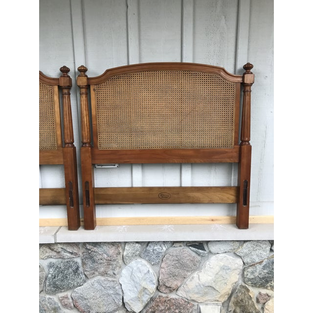 Art Deco Walnut and Cane Twin Headboards by Kindel Furniture - a Pair For Sale - Image 3 of 10