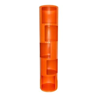 1960s Kartell Space Age Orange Plastic Modular Shelving Unit For Sale
