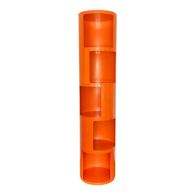 1960s Kartell Space Age Orange Plastic Modular Shelving Unit For Sale