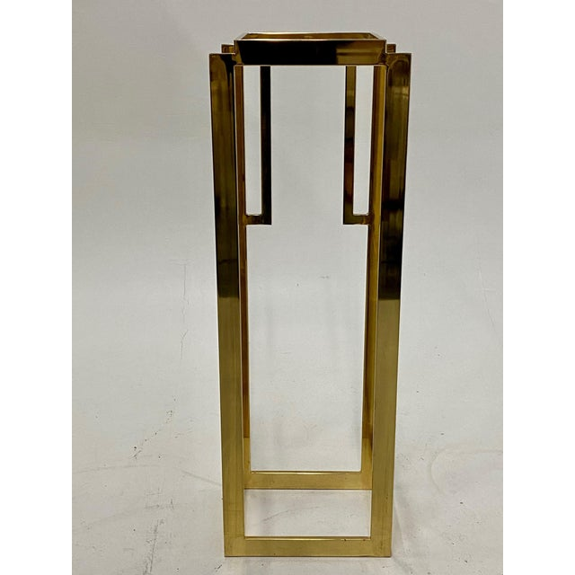 1970s Mastercraft Hollywood Regency Style Patinated Brass Pedestal For Sale - Image 5 of 8