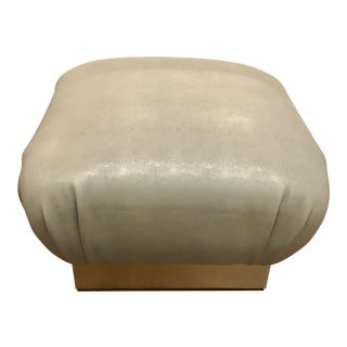 Worlds Away Modern Gray Faux Shagreen Sydney Ottoman For Sale