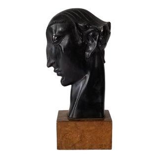 Vintage Man Head Pottery Sculpture on Wood Base . For Sale