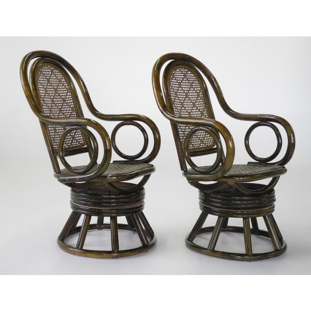 Mid-Century Modern Paul Frankl Style Bent Rattan & Wicker Swivel Armchairs - A Pair - Image 2 of 10
