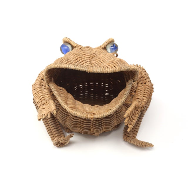 Vintage Wicker Frog Basket With Glass Marble Eyes For Sale - Image 4 of 11