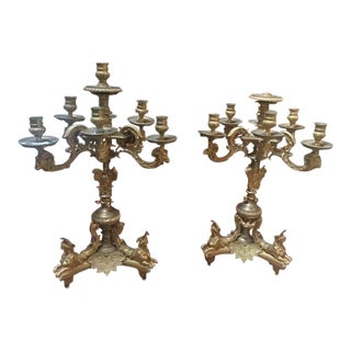 Late 19th Century French Dore Candelabras - a Pair For Sale