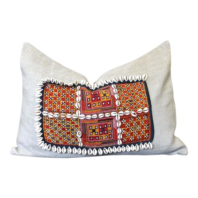 Dabeet Jumlo Embroidered Shell Pillow For Sale