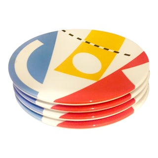1980s Memphis Sam Lebovitz Copco Melamine Plates - Set of 4 For Sale