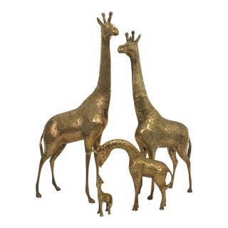 Vintage Brass Giraffe Instant Collection - Set of 4 For Sale