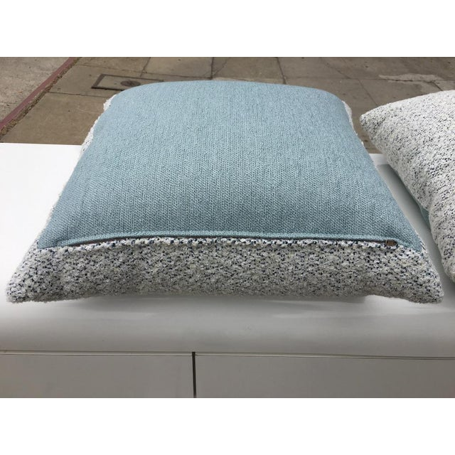 Textile Custom White and Blue Boucle Pillows - A Pair For Sale - Image 7 of 9