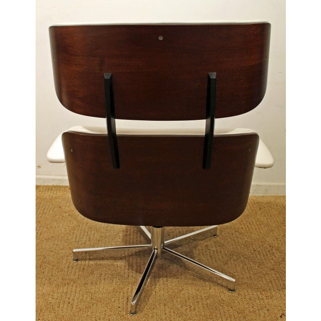 Mid-Century Danish Modern Selig Eames Leather Swivel Lounge Chair/Ottoman-signed For Sale - Image 5 of 8