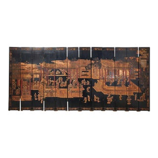 Chinese Export Twelve-Panel Lacquered Coromandel Screen For Sale