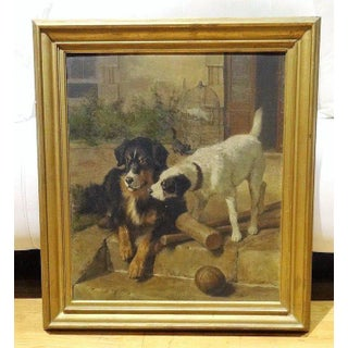 Best of Friends' Carl Sutherland Antique Dog Oil Painting Preview