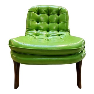 Art Deco Adrian Pearsall Style Green Vinyl Scoop Lounge Chair For Sale