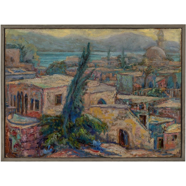 1940s Vintage North African Waterfront Oil Painting For Sale - Image 5 of 5