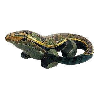 Vintage Ornate Pottery Lizard For Sale