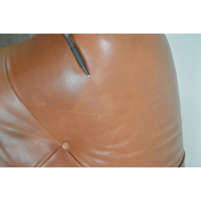 1990s Brown Tufted Leather Writers Club Chair (A) For Sale - Image 5 of 13