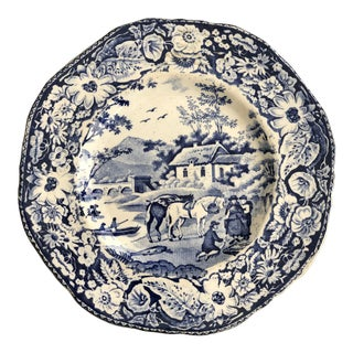 19th Century Blue and White Plate For Sale