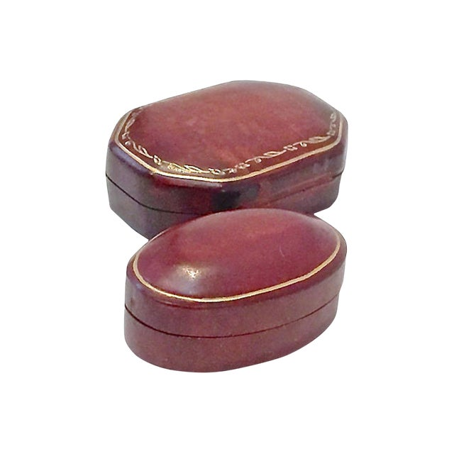 Early 20th Century Vintage Florentine Leather Snuff Boxes - a Pair For Sale