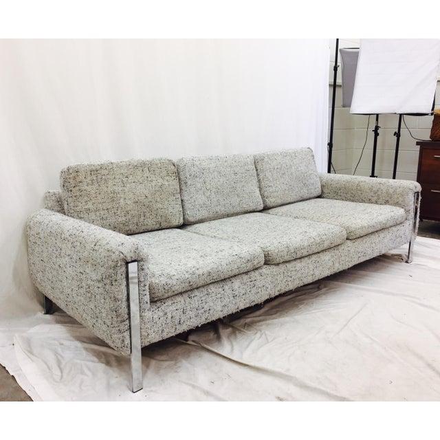 Vintage Mid Century Modern Sofa: Vintage Mid Century Modern Chrome & Tweed Sofa