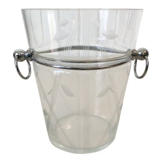Art Deco Chrome & Engraved Glass Ice Bucket For Sale