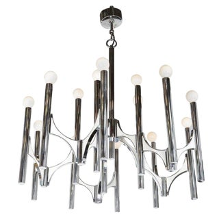 A Sciolari Large Fifteen-Light Chrome and White Panel Italian Chandeliers For Sale