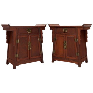 Pair of Asian Solid Teak Pyramid Shade Rolled Edges End Side Tables For Sale
