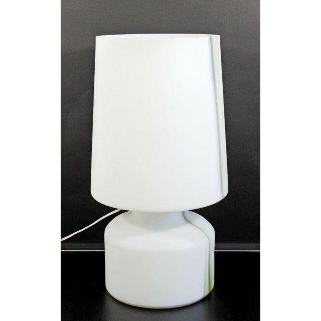 Mid Century Modern Large White Murano Glass Table Lamp 1970s Italy For Sale In Detroit - Image 6 of 10