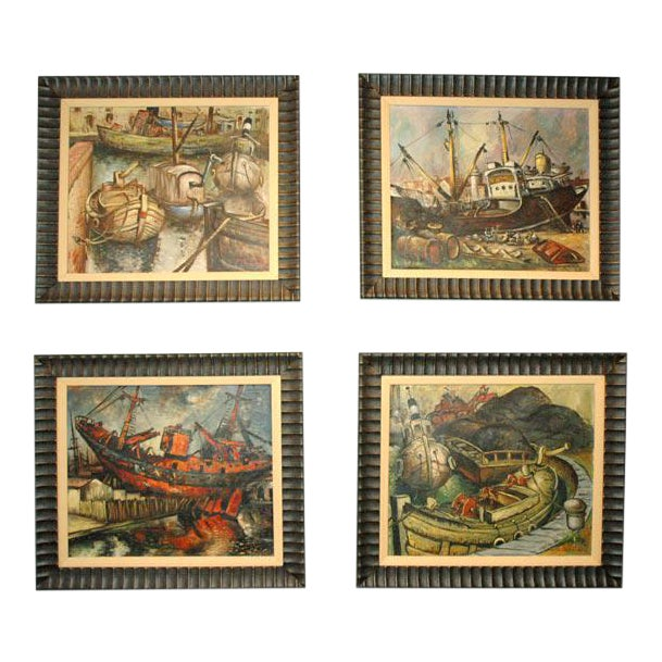Wpa Style Ship Paintings - Set of 4 For Sale