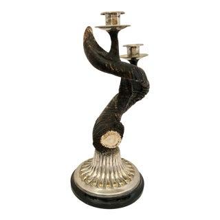 1970s Horn Candlestick Holder For Sale