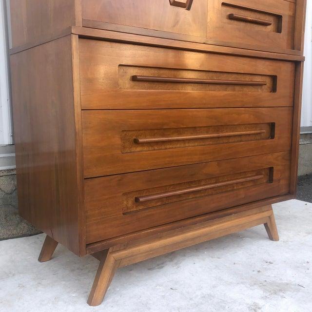 Mid-Century Modern Sliding Front Highboy Dresser For Sale - Image 4 of 13