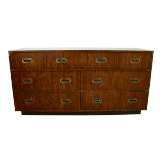 Mid Century Campaign Dixie 7-Drawer Lowboy Dresser For Sale