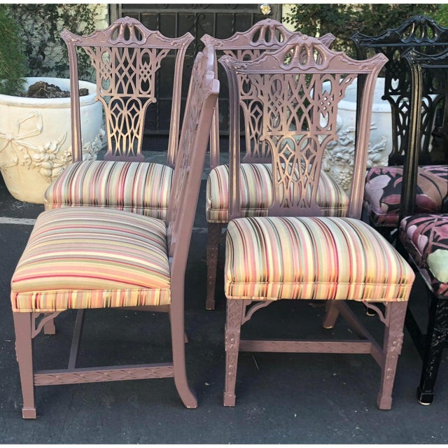 Hollywood Regency Hollywood Regency Chinese Chippendale Style Purple Pastel Dining Chairs - Set of 4 For Sale - Image 3 of 4