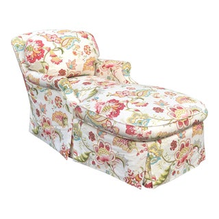 Fine Designer Floral Upholstered Chaise Lounge For Sale